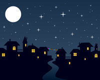 Christmas Night Town Scene Royalty Free Stock Photography