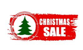 Christmas sale and christmas tree on red drawn banner Royalty Free Stock Images