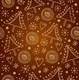 Christmas seamless golden background. Endless holiday ornate pattern. Luxury xmas texture with snowflakes and spruces for wallpape Royalty Free Stock Photos