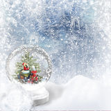 Christmas Snow globe on the frost background Stock Photos