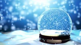 Christmas Snow globe Snowflake with Snowfall on Blue Background Stock Image