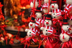 Christmas snowman decorations at a Christmas market Royalty Free Stock Photos