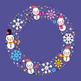 Christmas snowman & snowflakes winter holiday circle frame border background Royalty Free Stock Photography