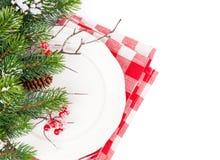 Christmas table setting with fir tree Stock Photo