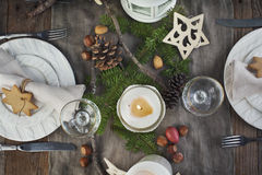 Christmas table setting. Holiday Decorations. Stock Photos