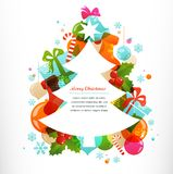 Christmas tree with labels and decorative elements Royalty Free Stock Image