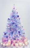 Christmas Tree Presents, Decorated Xmas Tree Blue Gifts Stock Photos