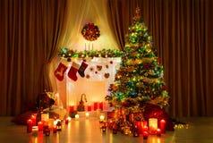 Christmas Tree Room, Xmas Home Night Interior, Fireplace Lighs Stock Image