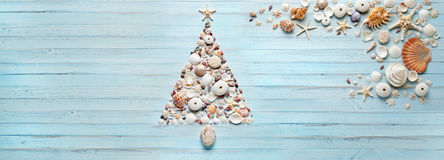 Christmas Tree Shells Banner Background Stock Photos