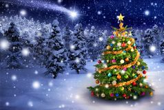 Christmas tree in snowy night Royalty Free Stock Photography