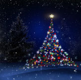 Christmas Tree! Unique Technique of Painting. Background. Royalty Free Stock Images