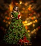 Christmas Tree Woman Fashion Dress, Model Girl, Xmas Lights Stock Images