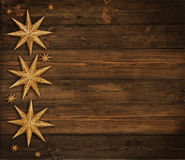 Christmas Wooden Background, Golden Stars Decoration, Brown Wood Royalty Free Stock Photography
