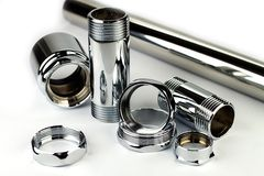 Chrome pipe and accessories Royalty Free Stock Photos
