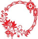 Chrysanthemum and Chinese lanterns graphic design Royalty Free Stock Image