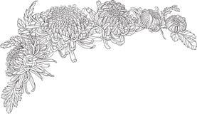 Chrysanthemum flower corner ornament Stock Image