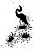 Chrysanthemum and heron Royalty Free Stock Photos