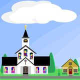 Church with stained glass windows Royalty Free Stock Images