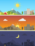 Cidade e paisagem em horas do dia diferentes Fotos de Stock Royalty Free