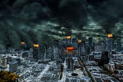 Cinematic Portrayal of Destroyed City With Copy Space Stock Photos