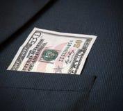 Cinqüênta dólares americanos no revestimento dos meus homens do bolso Fotos de Stock Royalty Free
