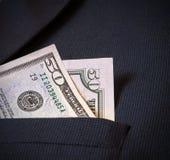 Cinqüênta dólares americanos no revestimento dos meus homens do bolso Imagens de Stock Royalty Free