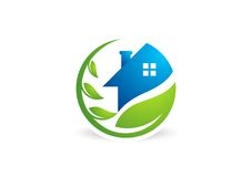 Circle home plant logo,house building,architecture,real estate nature symbol icon design vector Royalty Free Stock Images