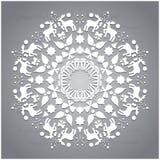 Circle ornament, round ornamental geometric pattern, christmas snowflake decoration Stock Images