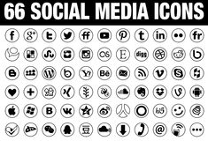 66 circle Social Media Icons black Stock Photo
