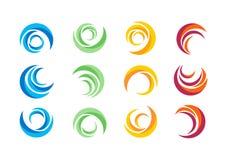 Cirkeln vatten, logoen, vind, sfären, växt, lämnar, vingar, flamman, solen, abstrakt begrepp, oändligheten, uppsättning av den ru Arkivfoton