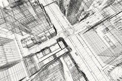 City buildings project, 3d wireframe print, urban plan. Architecture Stock Photography
