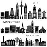 24 City, Main Street and Industrial Buildings icon set Stock Image