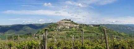City Motovun on top of the hill on Istria Stock Photo