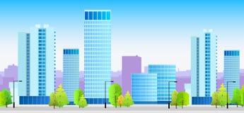 City skylines blue illustration architecture Stock Images