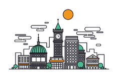 Cityscape architecture line style illustration Royalty Free Stock Photography