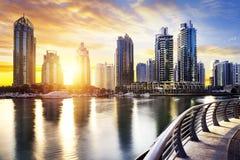 Cityscape of Dubai at night, United Arab Emirates Royalty Free Stock Photography