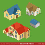 Classic countryside houses architecture icon set Stock Photos