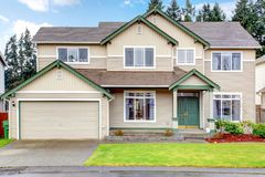 Classic new Northwest American large house exterior. Stock Photo