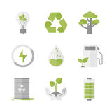 Clean energy and ecology protection flat icons set Royalty Free Stock Images