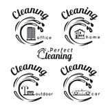 Cleaning emblems Royalty Free Stock Photo