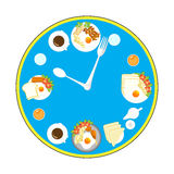 Clock with food and kitchen utensils, meal time Royalty Free Stock Photo