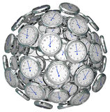 Clocks in Sphere Time Keeping Past Present Future Royalty Free Stock Photo