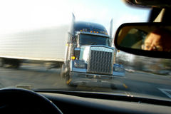 Close Call Crash Accident with Semi Tractor Truck Stock Photo