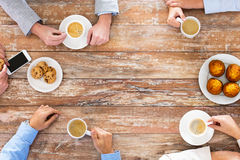 Close up of business team drinking coffee on lunch Stock Images