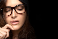 Close up Pretty Woman Face with Glasses. Cool Trendy Eyewear Royalty Free Stock Photo