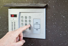 Close-up of uses intercom Stock Image