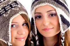 Close up view of cute teens wearing woolen cap Royalty Free Stock Photography