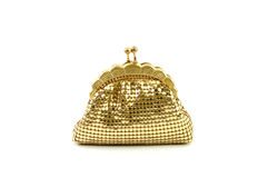 Closed golden wallet or purse Royalty Free Stock Images