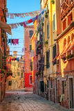 Clothes lines on a street in Venice, Italy Royalty Free Stock Images