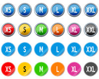 Clothing Size Buttons and Stickers Stock Photos